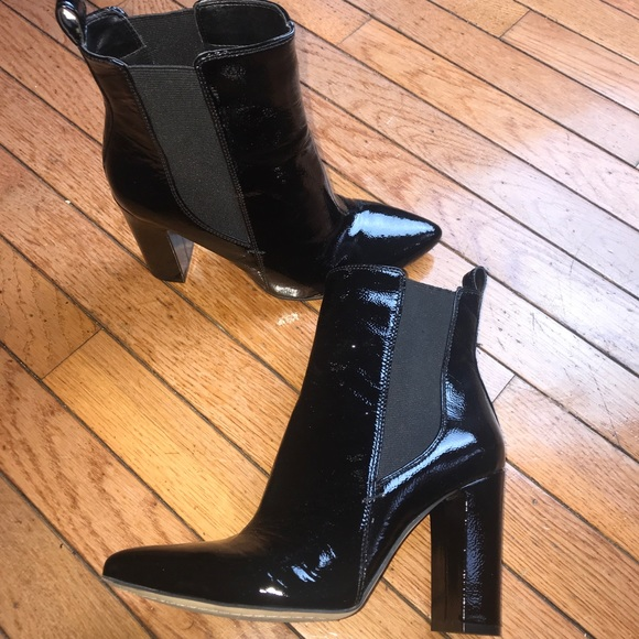 e757be4a52a9 Vince Camuto Britsy Patent Black Ankle Boots. M_5adb41f036b9debbc5f67974